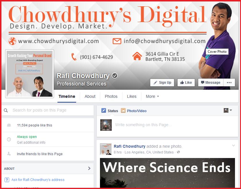 Rafi Chowdhury Growth Hacker Facebook Profile